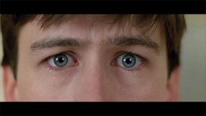 In Ferris Bueller's Day Off, the pain of Ferris' long-suffering best friend Cameron is caught in this extreme closeup of his eyes.