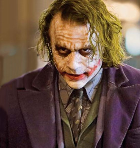 This medium closeup captures the Joker (Dark Knight) from the chest up.