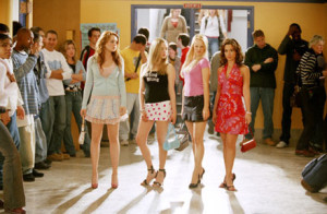 This long/wide shot shows that the Means Girls clique is popular, united, and the center of attention in their school.
